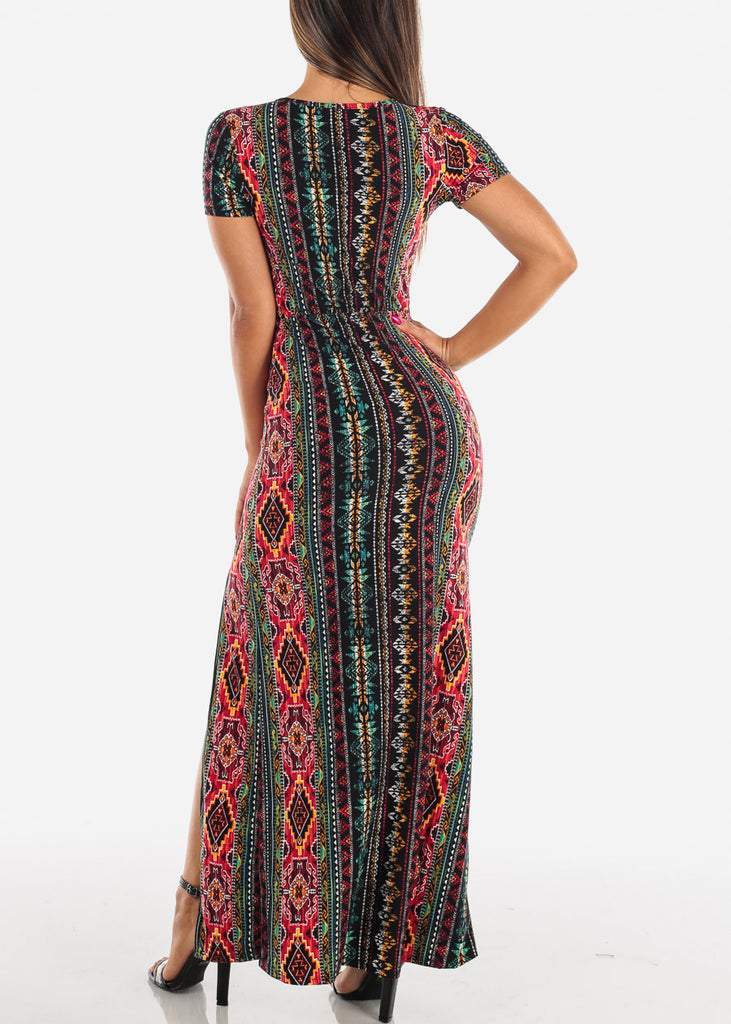 Sexy Stylish Cute Short Sleeve Flowy Wrap Front Long Maxi Multi Color Print Summer Dress For Women Ladies Junior On Sale