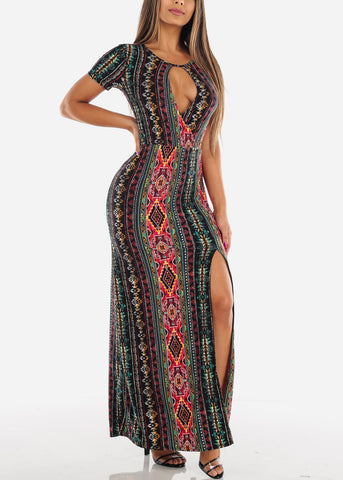 Image of Sexy Stylish Cute Short Sleeve Flowy Wrap Front Long Maxi Multi Color Print Summer Dress For Women Ladies Junior On Sale