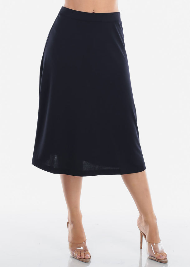 Fit And Flare Solid Black Stretchy Flowy High Waisted Career Office Professional Wear Midi Skirt