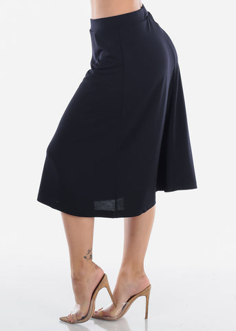 Image of Fit And Flare Solid Black Stretchy Flowy High Waisted Career Office Professional Wear Midi Skirt