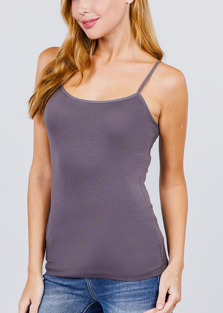 Adjustable Spaghetti Strap Tank Top (Grey)