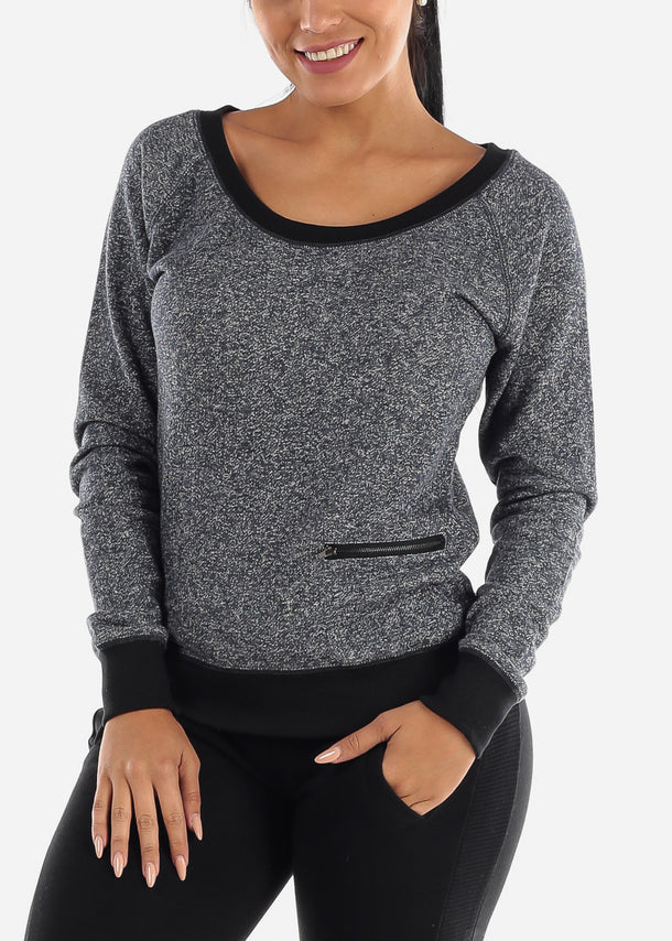 Charcoal Long Sleeve Casual Pullover