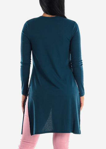 Side Slits Open Front Teal Cardigan