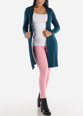 Image of Side Slits Open Front Teal Cardigan