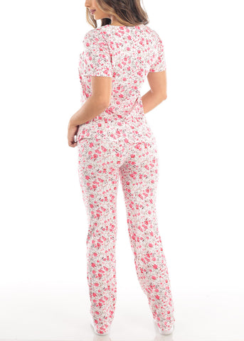 Coral Short Sleeve Floral Print Top And Pajama Pants Two Piece Set