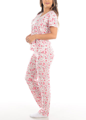 Image of 2 PCE Coral Floral Print Top & Pants