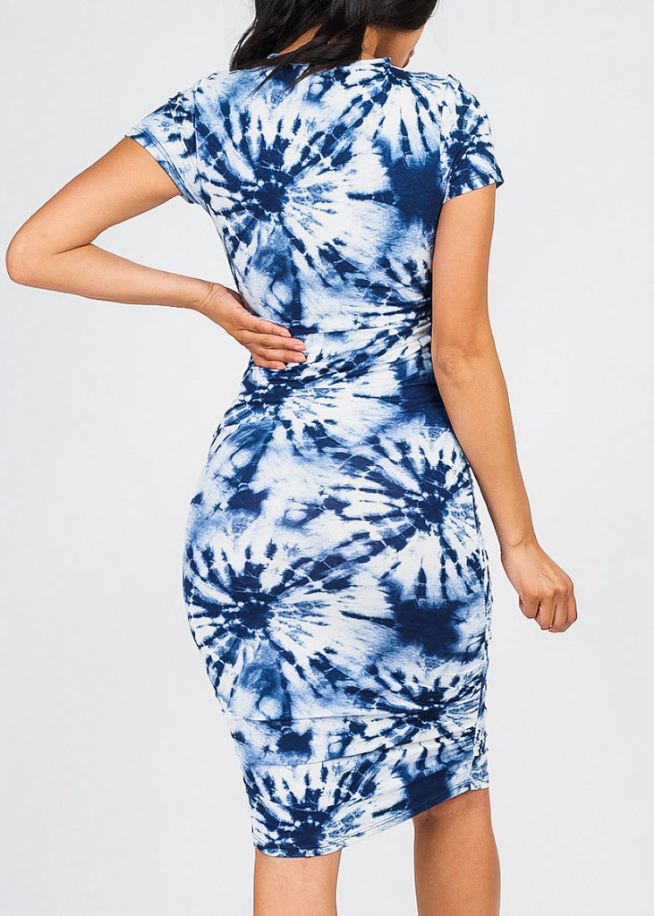 Ruched Blue Tie Dye Dress