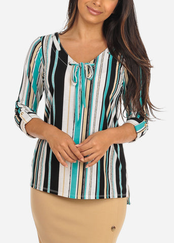 Image of Women's Junior Ladies Dressy Stylish Going Out Cute Teal Stripe V Neckline Design Front Blouse Top