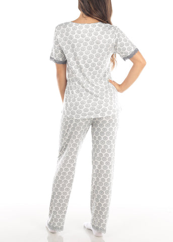 Image of Short Sleeve White Printed Top And Pajama Pants Two Piece Affordable