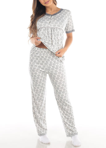 Short Sleeve White Printed Top And Pajama Pants Two Piece Affordable