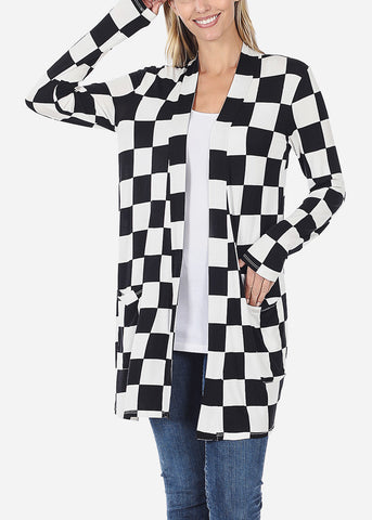 Black Checkered Cardigan