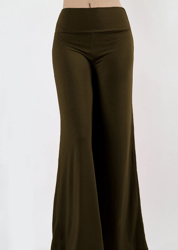 High Waisted Olive Palazzo Pants