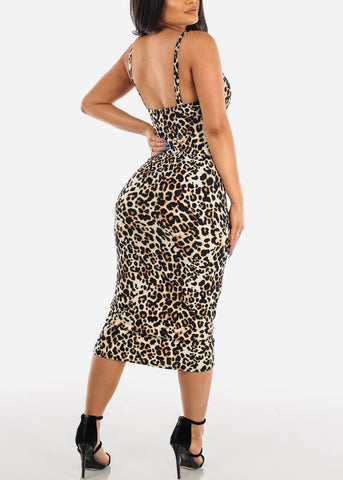Sexy Sleeveless Animal Print Padded Sweetheart Bust Bodycon Tight Fit Below The Knee Bodycon Midi Dress