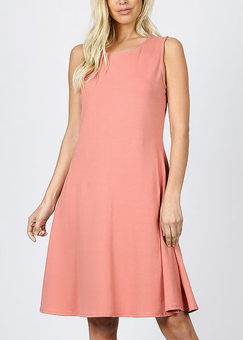 Sleeveless Ash Rose Classic A-Line Dress