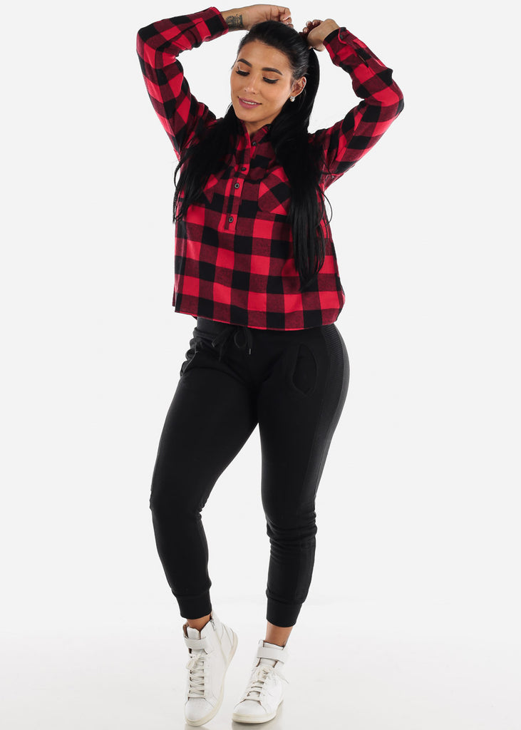Black & Red Half Button Up Plaid Shirt
