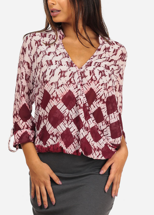 Stylish Wrap Front Aztec Print Burgundy And White Blouse Top