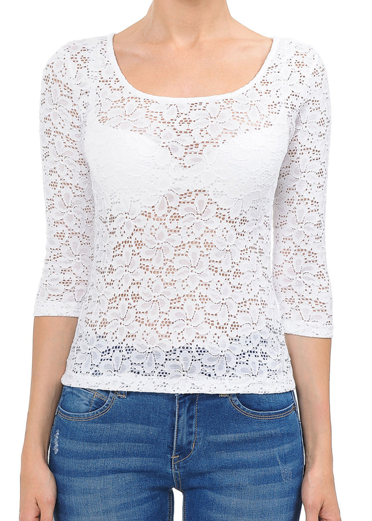 See Through Floral Lace White Top