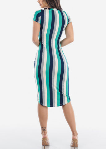 Image of Women's Junior Ladies Sexy Must Have Fashionable Beach Vacation Casual V Neck Green Stripe Bodycon Midi Dress