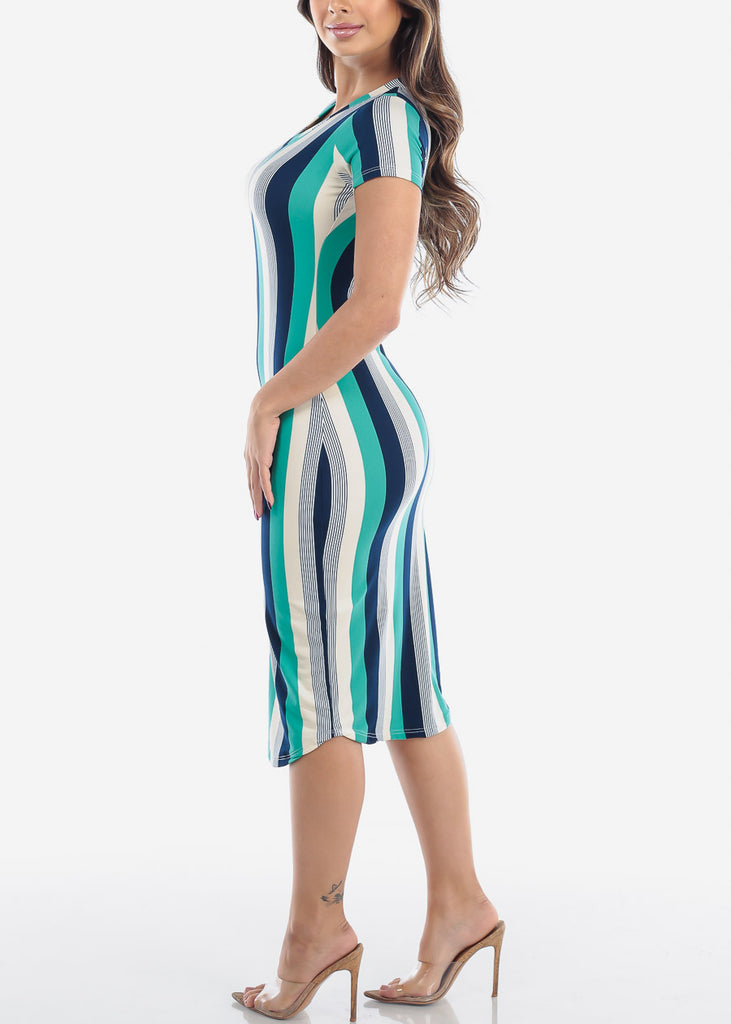 Women's Junior Ladies Sexy Must Have Fashionable Beach Vacation Casual V Neck Green Stripe Bodycon Midi Dress