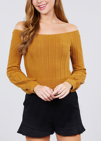 Off Shoulder Ribbed Camel Crop Top