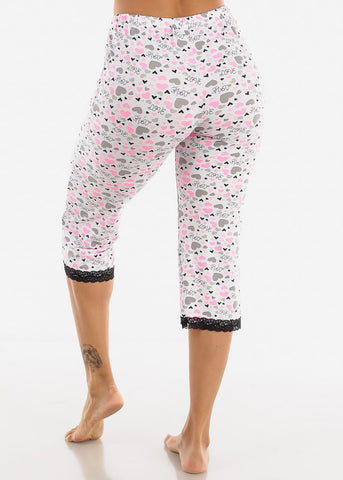 Image of Stretchy White Printed Pajama Pants