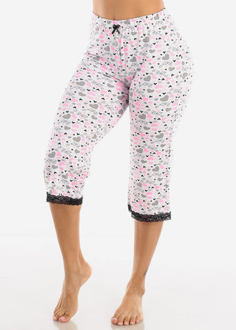 Stretchy White Printed Pajama Pants