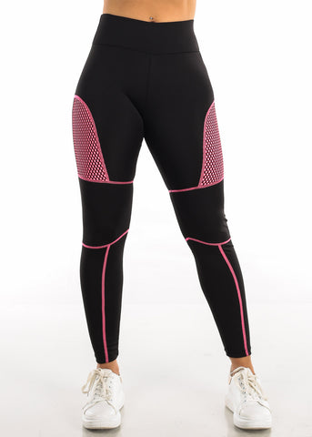 Activewear Pink Mesh Black Leggings