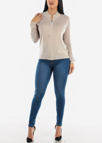Image of Beige Lace Sleeves Zip Up Top