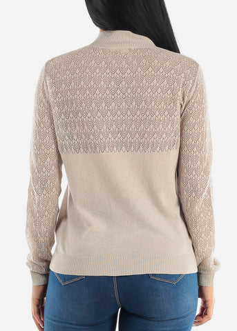Beige Lace Sleeves Zip Up Top