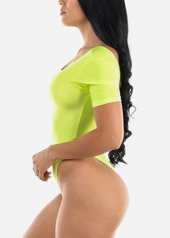Sexy Satin Neon Green Bodysuit