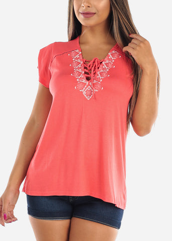 Women's Junior Ladies Casual Must Have Stitched Flowers Lave Up V Neckline Coral Stretchy Top