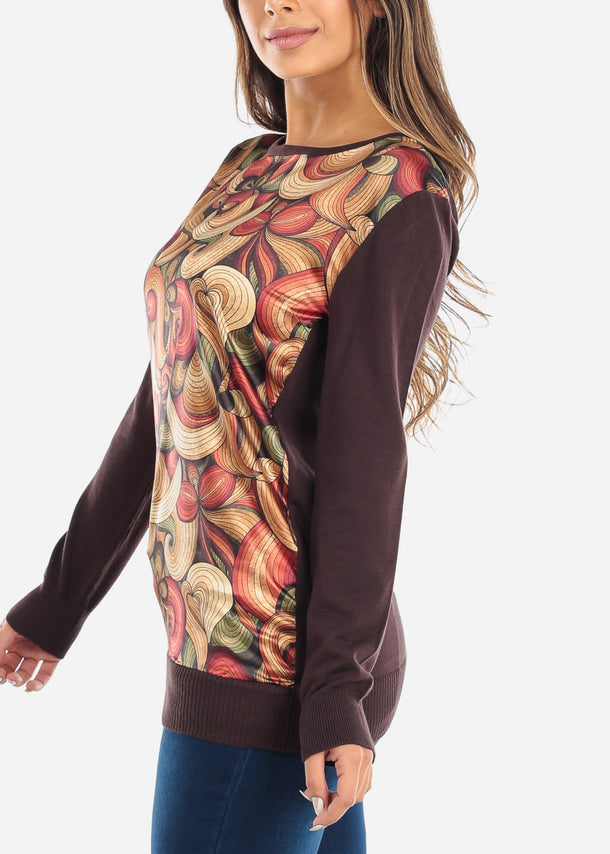 Printed Long Sleeve Brown Top
