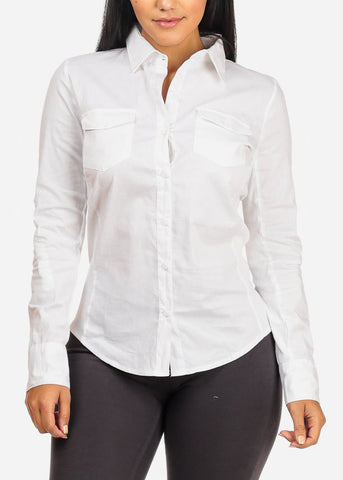Image of Button Up 2 Pocket White Shirt