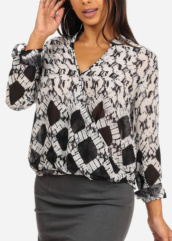 Stylish Wrap Front Aztec Print Black And White Blouse Top