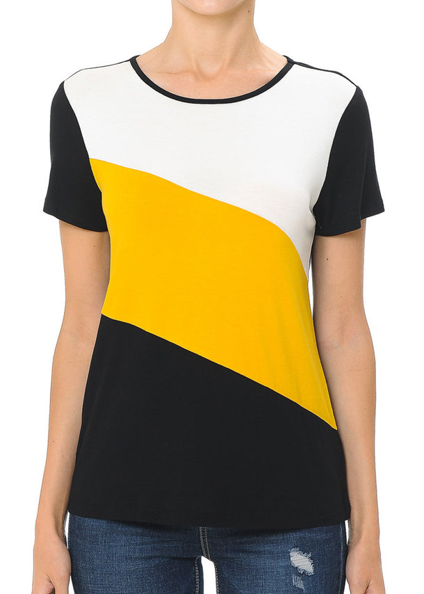 Casual Colorblock Mustard Top