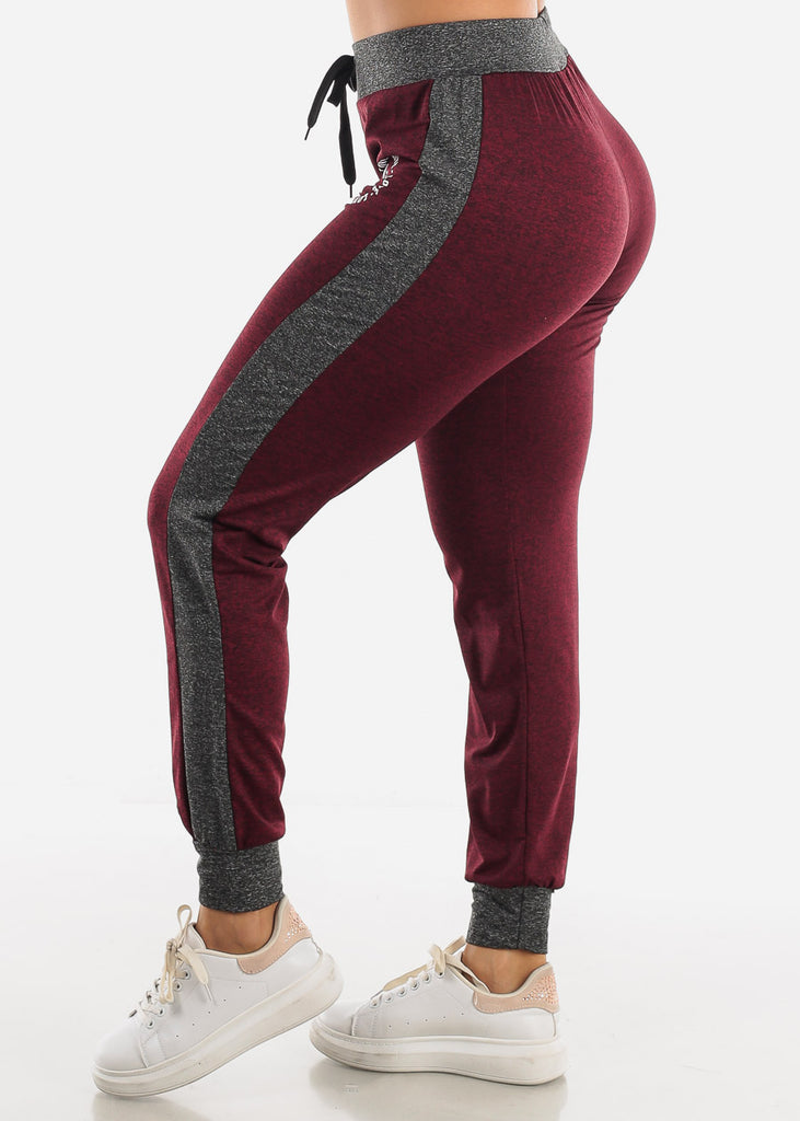 Heather Burgundy Fleece Drawstring Jogger