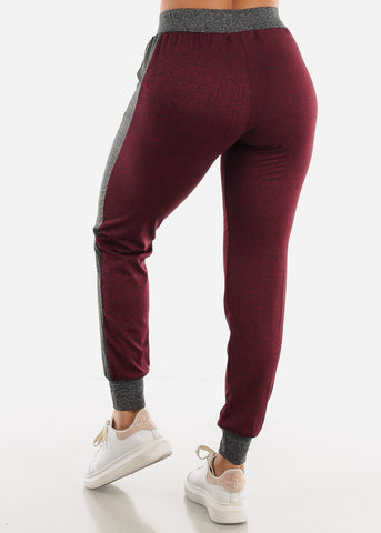 Image of Heather Burgundy Fleece Drawstring Jogger