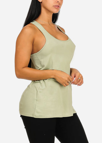 Sleeveless Super Stretchy Loose Fit Casual Daily Wear Light Green Top Tee Camisole For Women Ladies Junior On Sale