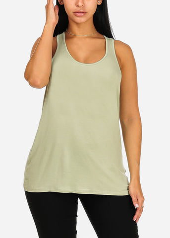 Image of Sleeveless Super Stretchy Loose Fit Casual Daily Wear Light Green Top Tee Camisole For Women Ladies Junior On Sale
