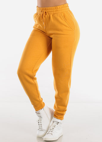 Image of Fleece Mustard Jogger Pants