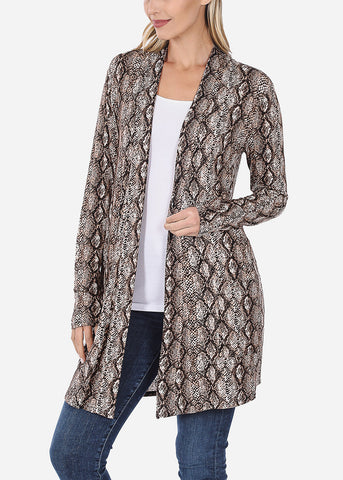 Image of Brown Snake Print Cardigan