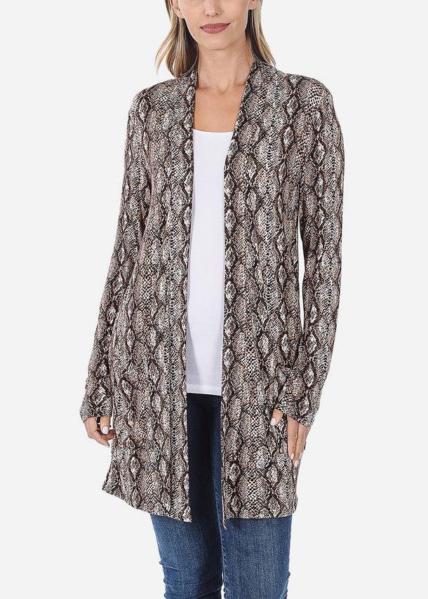 Brown Snake Print Cardigan
