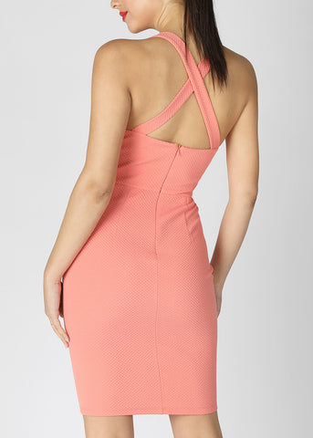 Cross Back Knee Length Peach Dress