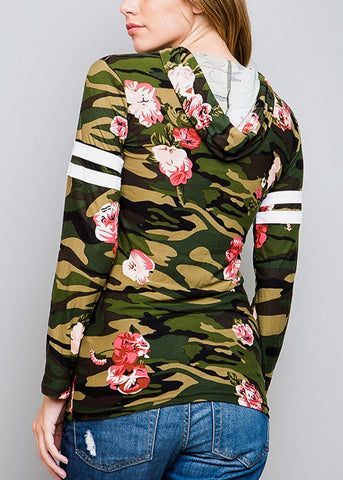 Image of Long Sleeve Camouflage Top W Hood