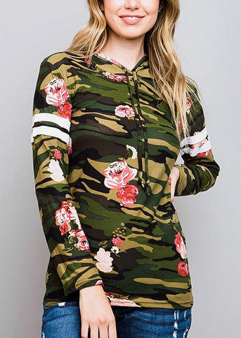 Long Sleeve Camouflage Top W Hood