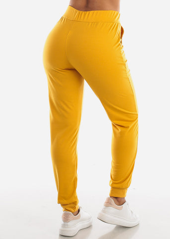 High Waisted Mustard Jogger Pants