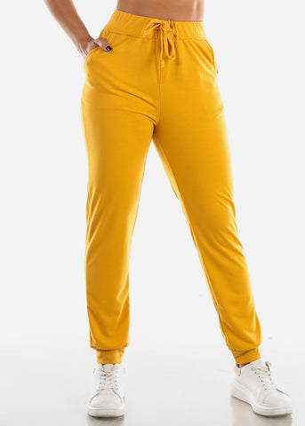 Image of High Waisted Mustard Jogger Pants