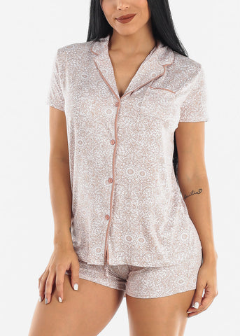 Brown Printed Button Down PJ Set