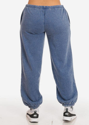 Cotton blend Blue Low Rise Jogger Pants