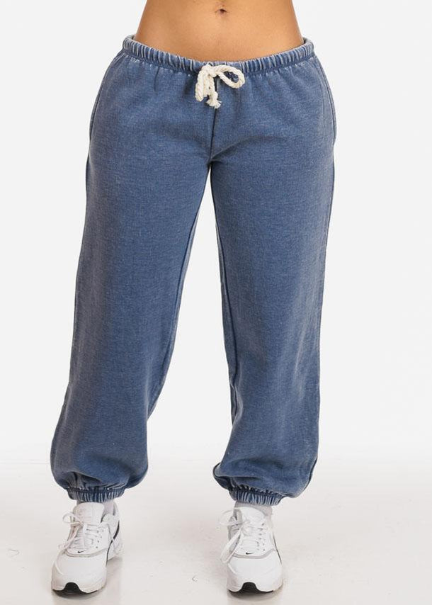 Blue Low Rise Jogger Pants